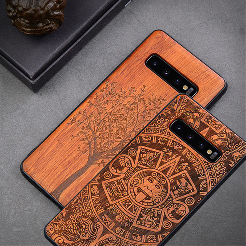 Carved Wood <font><b>Case</b></font> For <font><b>Samsung</b></font> S10 S20 Shockproof <font><b>Case</b></font> TPU Bumper Cover For <font><b>Samsung</b></font> S10 Plus S20 Ultra <font><b>Case</b></font> Wood Shell <font><b>Note8</b></font> Note9 image