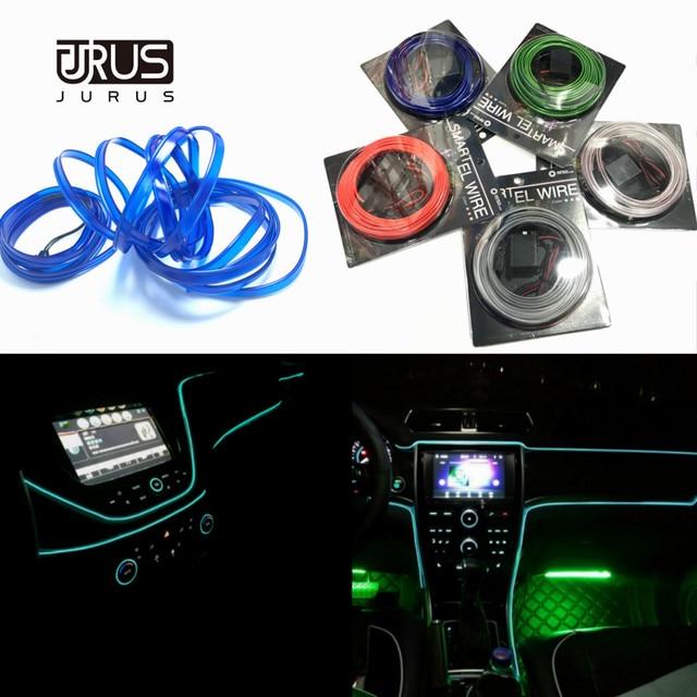 Accesorios de iluminación Interior del coche de la luz ambiental del estilo del coche de JURUS 10 piezas para la tira de la lámpara del coche 12 V de la cuerda del inversor línea de tubo de lámpara