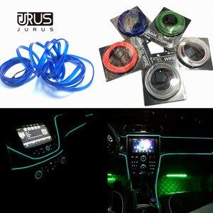 Image 1 - JURUS 10 sztuk Car Styling oświetlenie otoczenia oświetlenie wnętrza samochodu akcesoria do Auto LED Strip lampa 12V falownik rura linowa linia Lmap
