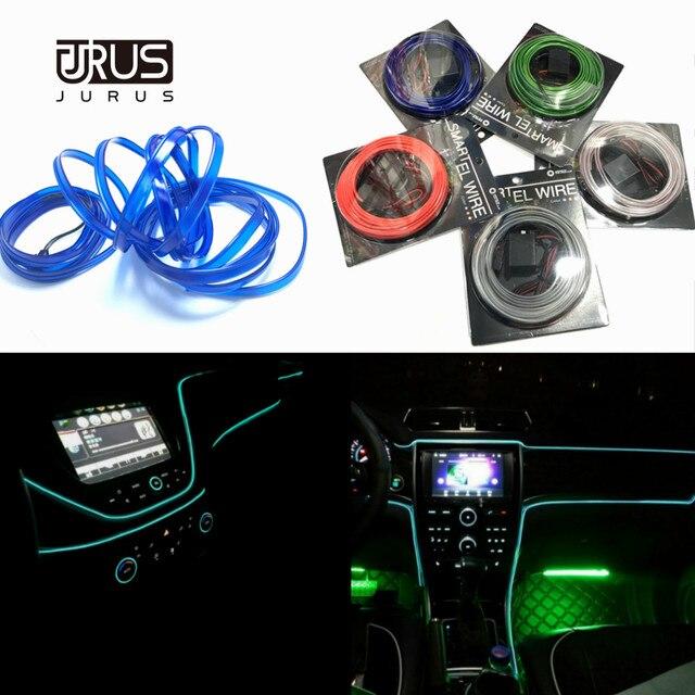 JURUS 10 sztuk Car Styling oświetlenie otoczenia oświetlenie wnętrza samochodu akcesoria do Auto LED Strip lampa 12V falownik rura linowa linia Lmap