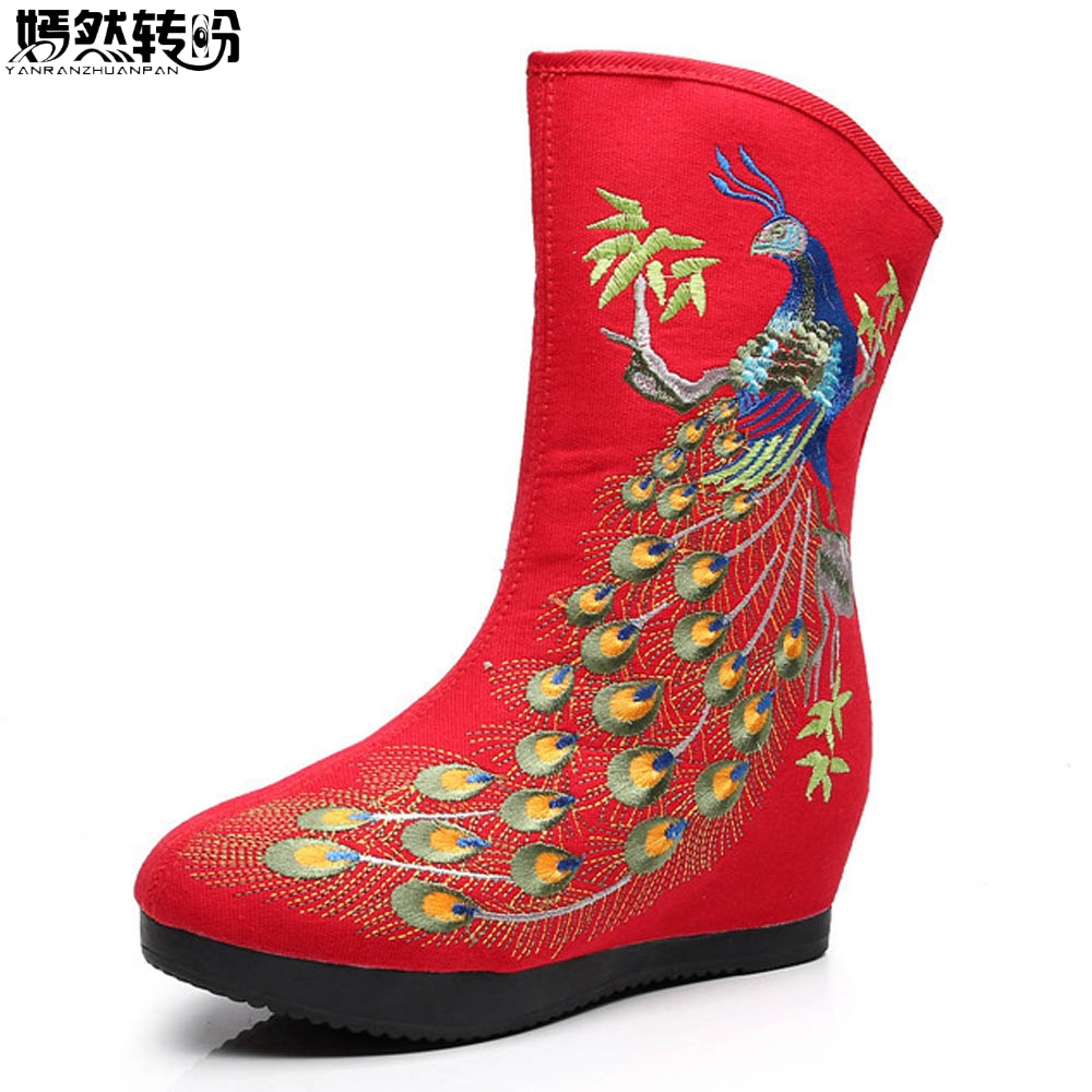 Vintage Women Boots Old Beijing Ethnic Retro Phoenix Embroidered Booties Botas Mujer High Quality Winter Warm Zipper Shoes Woman vintage women pumps flowers embroidered ankle buckles canvas platforms ladies soft casual old beijing shoes zapatos mujer