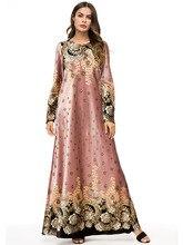 Pink Long Flowers Dress Women Spring 2019 Long Sleeves Velvet Maxi Dresses Ladies Elegant Floral Print Paty Dress Plus Size 4XL navy floral pattern long sleeves maxi dress