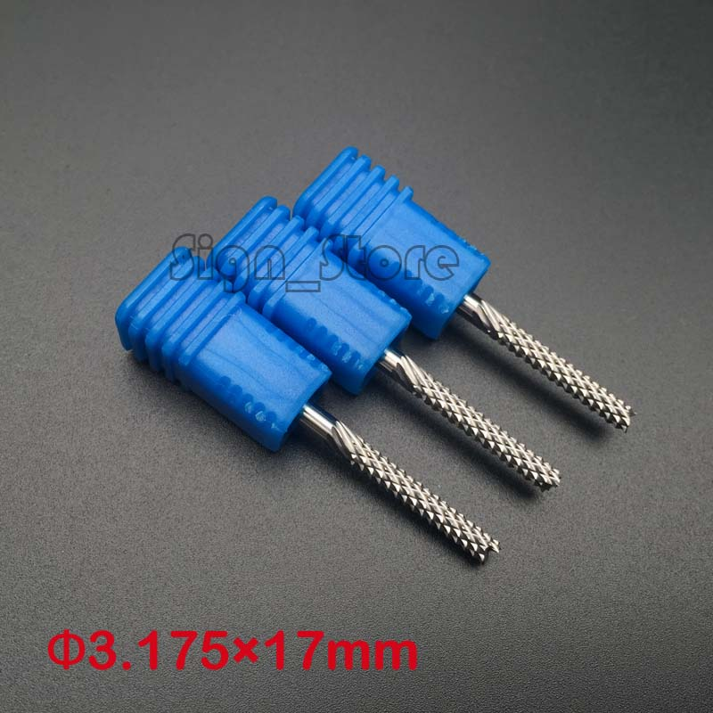 цена на 5pcs 3.175*17mm Corn Teeth End Mill, Milling Cutter CNC Router Bits Tools PCB, Printed Circuit Board Cutter on HDF,Fiber Glass