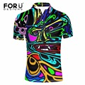 FORUDESIGNS Men Short Sleeve Comfort Polo Shirt 3D Funny Graffiti Print Polo Slim Fit Turn-down Collar Man Shirts Polo Ralphmen