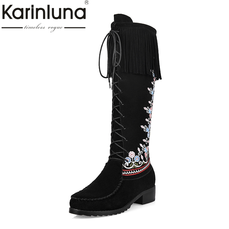 KAIRNLUNA Top Quality Large Size 34-43 Winter Boots Ethnic Style Embroidery Cow Suede Genuine Leather Woman Shoes Fringe black fringe sleeve top