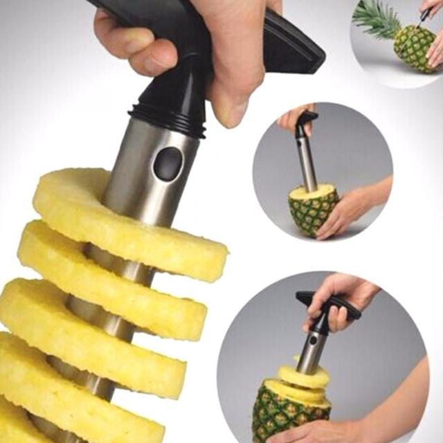 1 Pc Aço Inoxidável fácil de usar Acessórios Abacaxi Fatiadoras Cortador De Faca De Frutas Descascador de Abacaxi Corer Slicer Cozinha Ferramentas