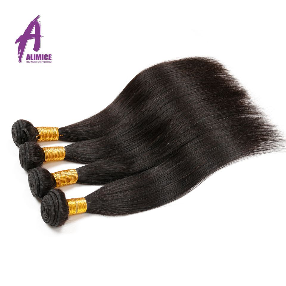 Alimice Malaysian Straight Hair 100 Human Hair Weave Bundles Non Remy Hair Extensions Natural Color Can