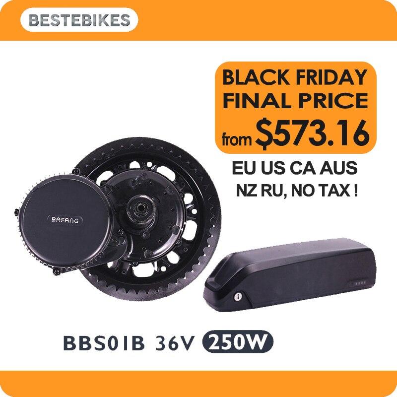 Bafang moteur BBS01B 36 v 250 w kit de conversion vélo électrique batterie velo 36 v batterie 10.4/13/ 17/24.5ah UE US CA AUS NZ RU AUCUN IMPÔT