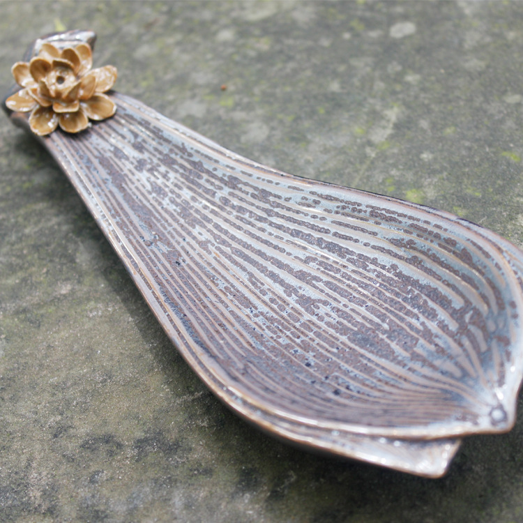 cerative ceramic Incense smoke retro lotus leaf rust enamel pagoda sandalwood incense plate inserted