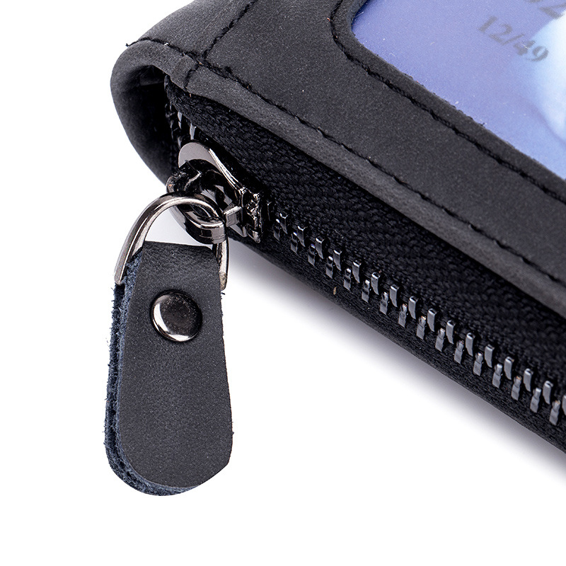 BLEVOLO New RFID Credit Card Wallet Lady ID Holders Cover Men Real Leather Bank Card Case Zipper Cards Package With Coin Pocket