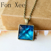 Fon Xee Blue Galaxy Pyramids Necklace Vintage Glowing Jewelry Love Pendant For Couples Lovers Glow In