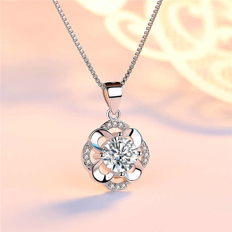 Romantic Four Leaf Flower Stainless Steel Jewelry Long Pendant& Necklace Austrian Crystal Silver 925 Chains For Women Party
