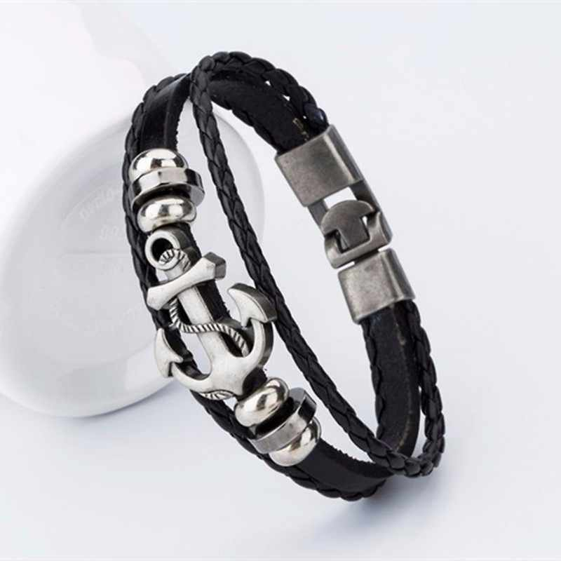 YIZIZAI Fashion Bracelete Genuine Leather Multilayer Anchor Bracelet Men Vintage Punk Rock Women Alloy Beads Nautical Jewelry