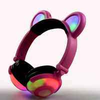 Children Lovely Headphones Cartoon Bear Ear Cute LED Headphone For Boy And Girls Growing Light Music