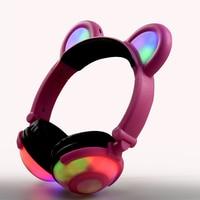 Children Lovely Headphones Cartoon Bear Ear Cute LED Headphone For Boy And Girls Growing Light Music