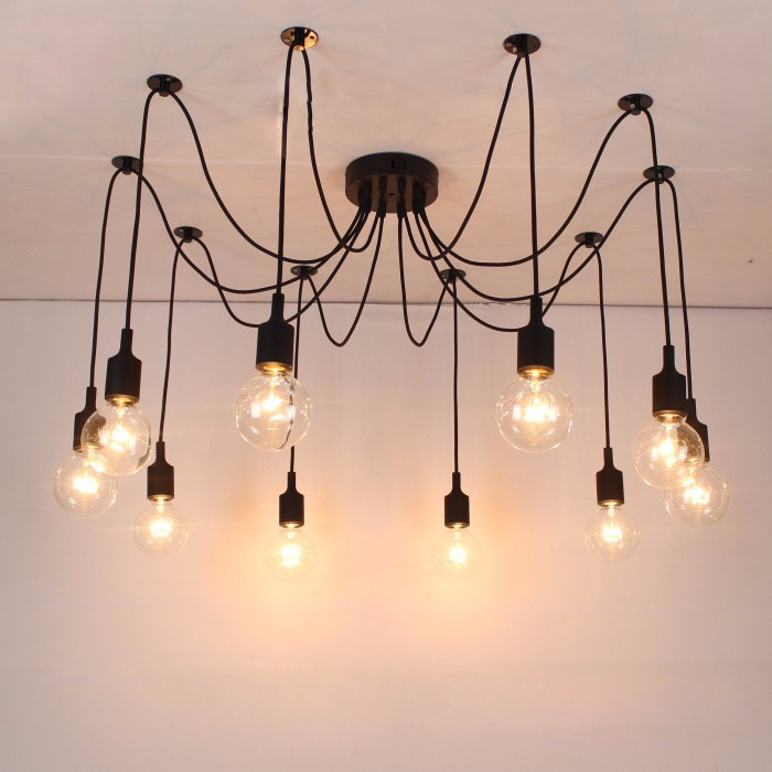 Aliexpress Free Shipping Silicone Colorful Pendant Lights Diy Multi Color E27 Bulb Holder Lamps 10 Arms Fabric Cable Pendants From Reliable