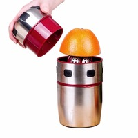 LUCOG Powerful Stainless Steel Orange Juicer Portable Manual Lid Rotation Citrus Juicer Lemon Orange Tangerine Juice