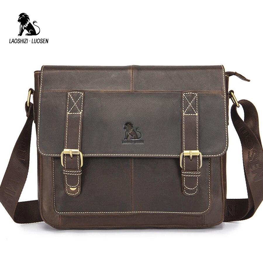 LAOSHIZI LUOSEN Vintage cartables sacs hommes Messenger sac en cuir véritable fou cheval bandoulière sac d'affaires voyage 2018