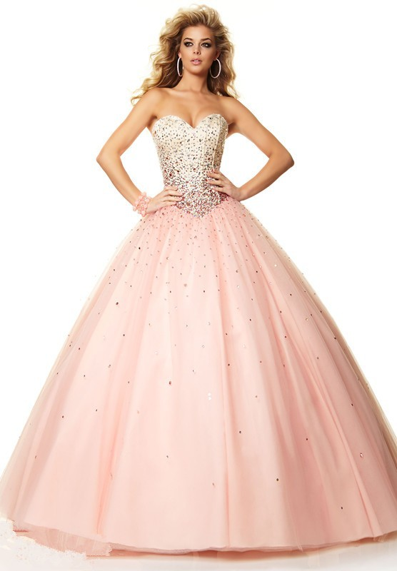 Sweetheart Ball Gown Long Pink Quinceanera Dresses Blue And White ...
