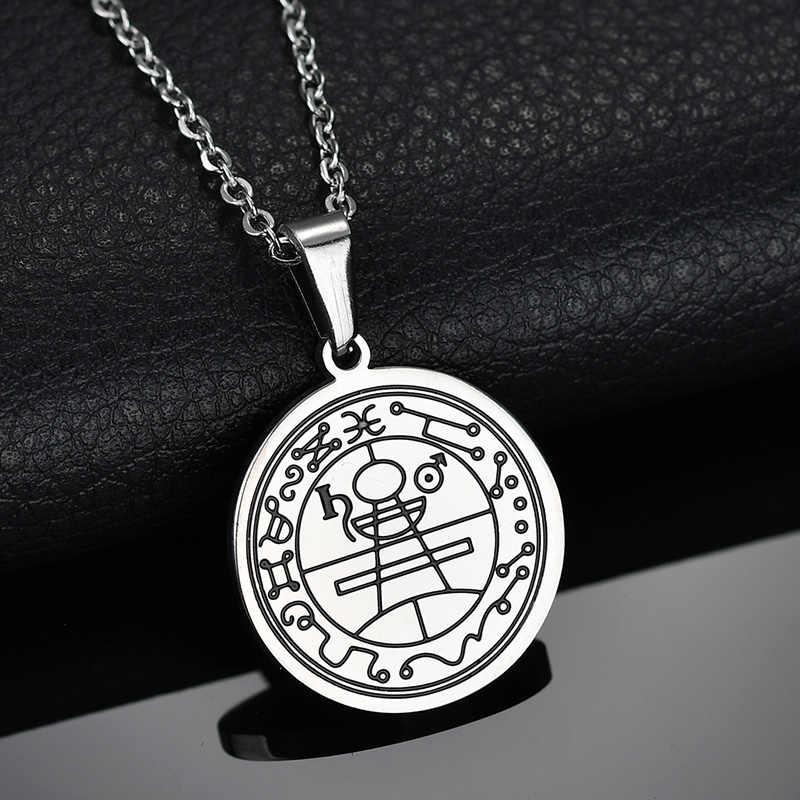 Spark Vintage Solomon Seal Amulet naszyjnik ze stali nierdzewnej monety hermetyczne runy oświadczenie naszyjnik dla mężczyzn prezent na boże narodzenie kołnierz