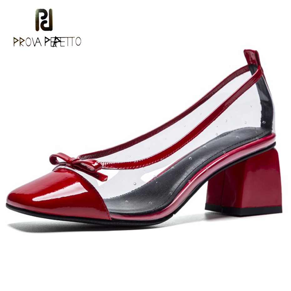 Prova Perfetto sweet butterfly knot transparent shoe women pumps patent leather square toe chunky heel breathable pvc high heels sweet women s pumps with two piece and patent leather design