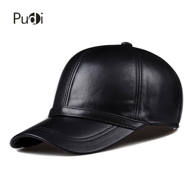 HL091 Spring genuine leather man's   baseball     cap   hat men's real leather adjustable trucker driving black snapback hats   caps