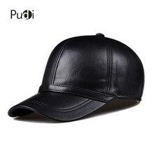 HL091ฤดูใบไม้ผลิหนังแท้ผู้ชายของเบสบอลหมวกหมวกหนังแท้ผู้ชายปรับตะขับรถสีดำsnapbackหมวกหมวก