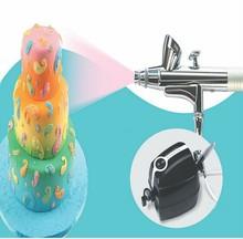 Kuchen Bäckerei Airbrush Kit Mini Kompressor 5 Geschwindigkeit mit Airbrush 0,3-0,5mm Düse 2CC für Kuchen Dekorieren A282