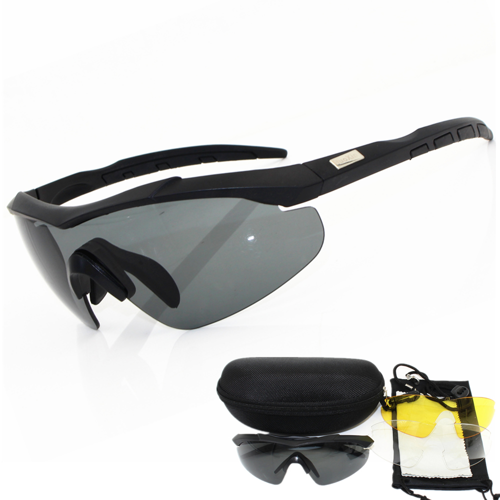 2019 3 lens 2mm thickness Military Goggles  Sunglasses Men Bullet proof Army Tactical Glasses shooting Eyewear-in Men's Sunglasses from Apparel Accessories