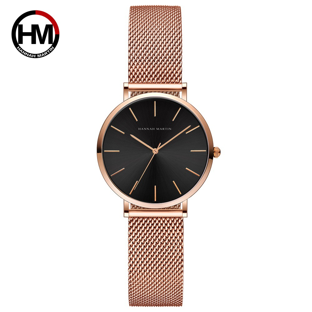 Image 4 - Hannah Martin Fashion Casual Women Watches Rose Gold Simple Ladies Watches Quartz Wristwatches relogio feminino Clock Gift Box-in Women's Watches from Watches