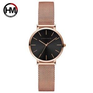 Image 4 - Hannah Martin Fashion Casual Women Watches Rose Gold Simple Ladies Watches Quartz Wristwatches relogio feminino Clock Gift Box