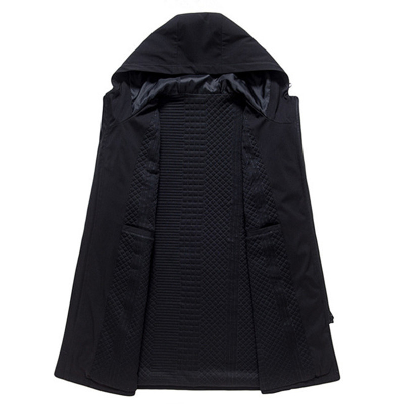 Новое поступление 2019, мужские тренчи, Мужские осенне зимние модные пальто, Мужская ветровка, высокое качество, черное пальто, Повседневное п... - 3