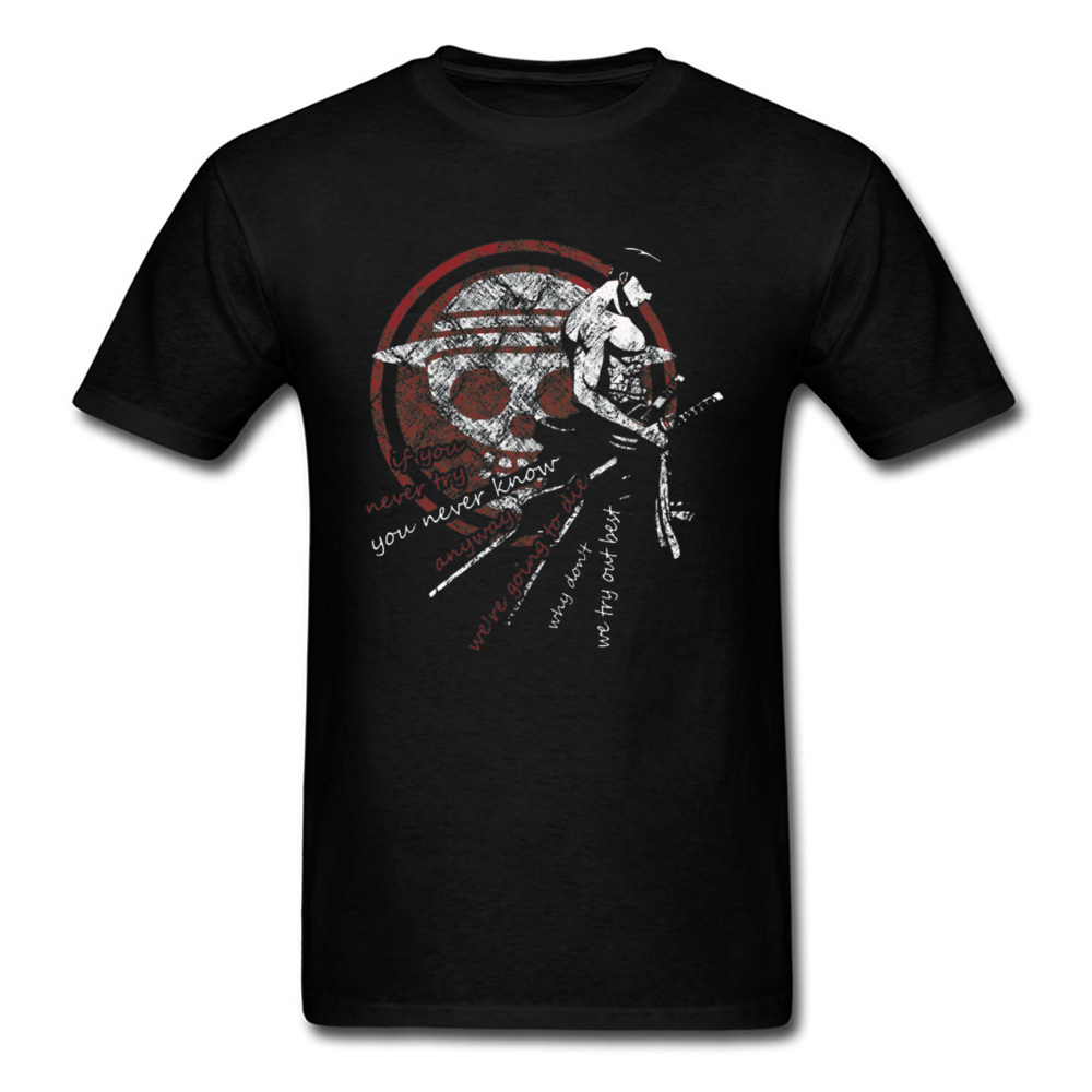 Swordsman T-shirt Men Vintage Zoro Tshirt Newest One Piece T Shirts Pirate King Lufft Tees Japan Anime Tops Skull Symbol Printed