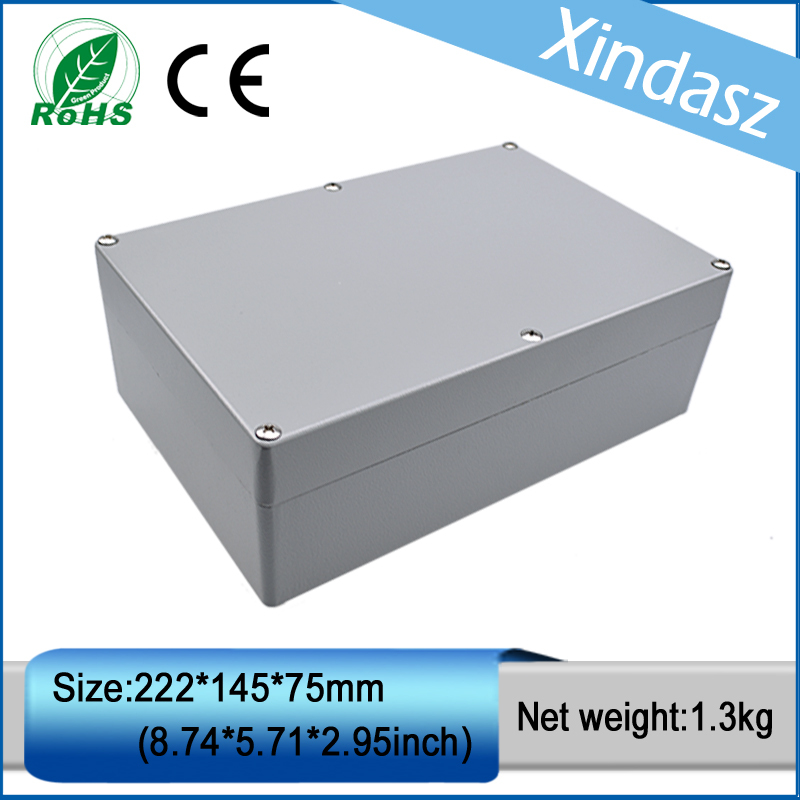XD0201003 1pcs in stock cast aluminum box aluminum die casting company  222*145*75mm 2014 hot sale high qulity ip65 die cast aluminum waterproof box 222 145 75mm with 6pcs screws and 2 iron mounting feet