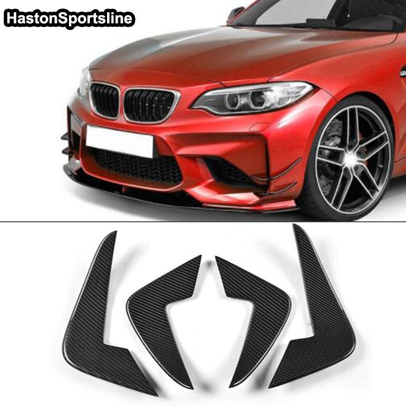 Accessoires de voiture pour BMW F87 M2 avant côté ventilation en Fiber de carbone avant pare-chocs ailerons garnitures décoration 2016 ~ 2018