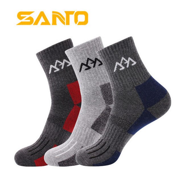 release info on fantastic savings fast delivery US $14.99 |3 Pairs SANTO S004 Cotton Hiking Socks Men's Outdoor Sport Sock  Quick Dry Fit to Size 39 43-in Hiking Socks from Sports & Entertainment on  ...