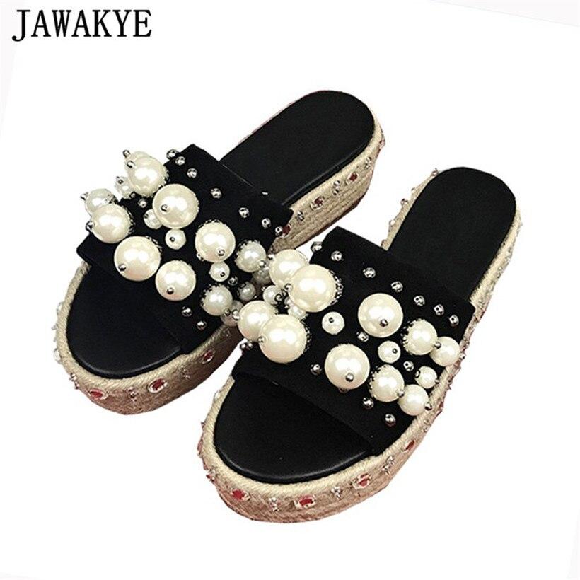 Здесь продается  Summer Shoes Women pearled Crystal decor Slippers hemp Platform wedge high heels 2018 string beaded Outdoor Tide sandals Female  Обувь