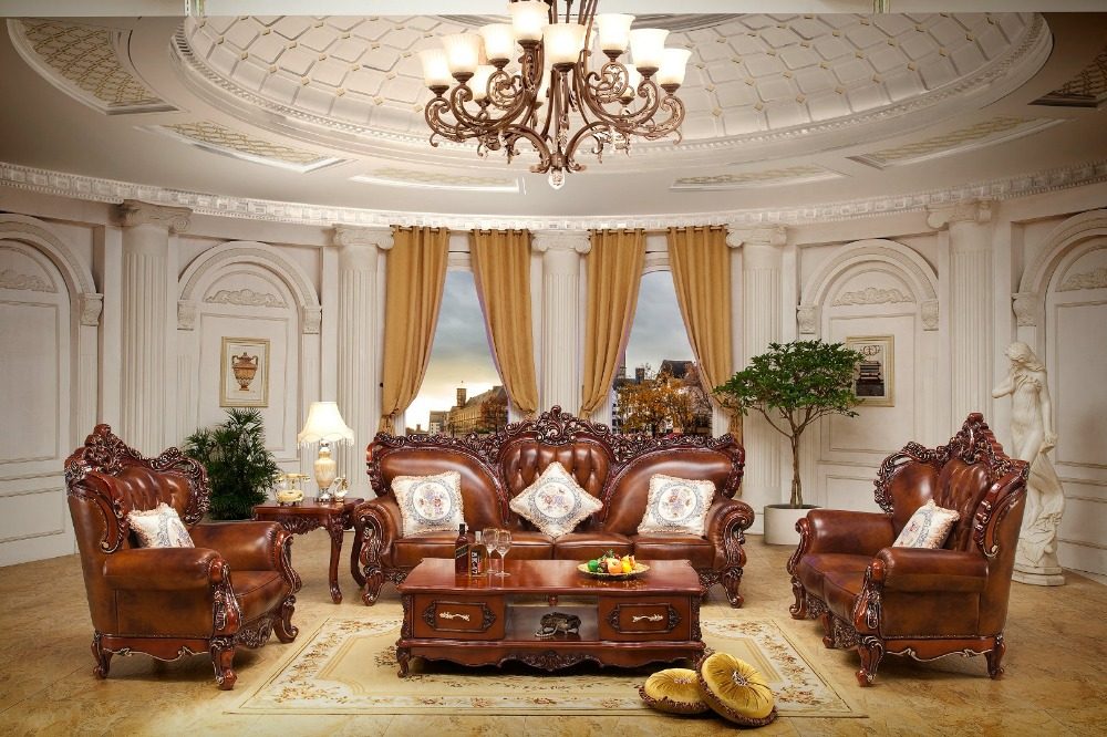 Luxury European Style Antique Sofa Sectional Oak Wood Classic Living Room Sofa Set Made In China