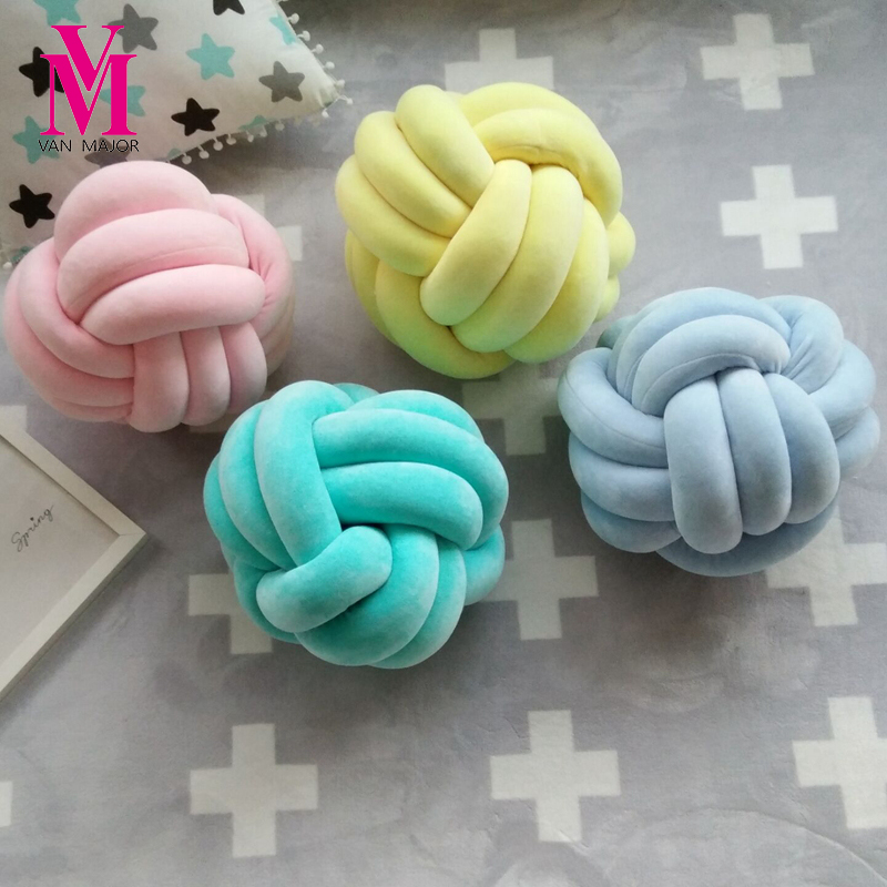 1PC 36*36CM Handmade Knot Cushion Knotted Ball Pillow Europe Style Kids Bed Pillows Stuffed Toys Baby Room Decor Girl Gifts new arrival handmade lovely cartoon animals plush dolls stuffed cushion pillow toys gifts nordic kids room bed decor photo props
