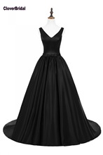 CloverBridal black smooth ball gown chapel train calendario 2018 sexy straps backless deep V neck red carpet evening dresses