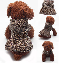 Pet Dogs Leopard Dress Tops Puppy Cotton Hoodie Woolen Round neck lovely winter pet dress Wear on both sides Leopard Clothes(China)