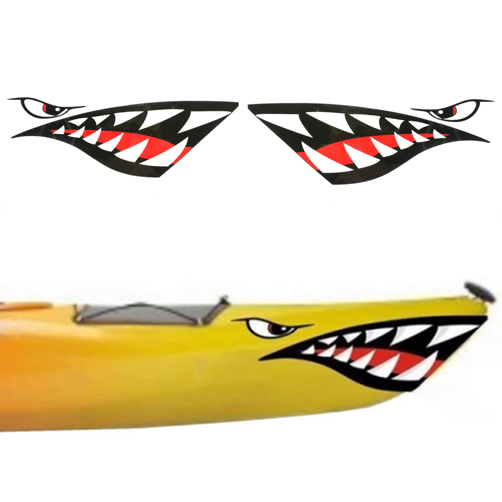 2PC Kayak Sticker Waterproof Shark Teeth Mouth Stickers Decal Canoe Dinghy Marine Boat Car Truck