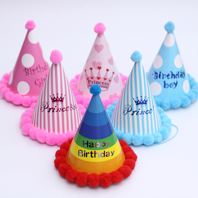 Kids Children Baby Boy Girl & Adult Use Happy Birthday Party Hats Crown Prince Princess Dot Star Heart Party Event Shaggy Caps