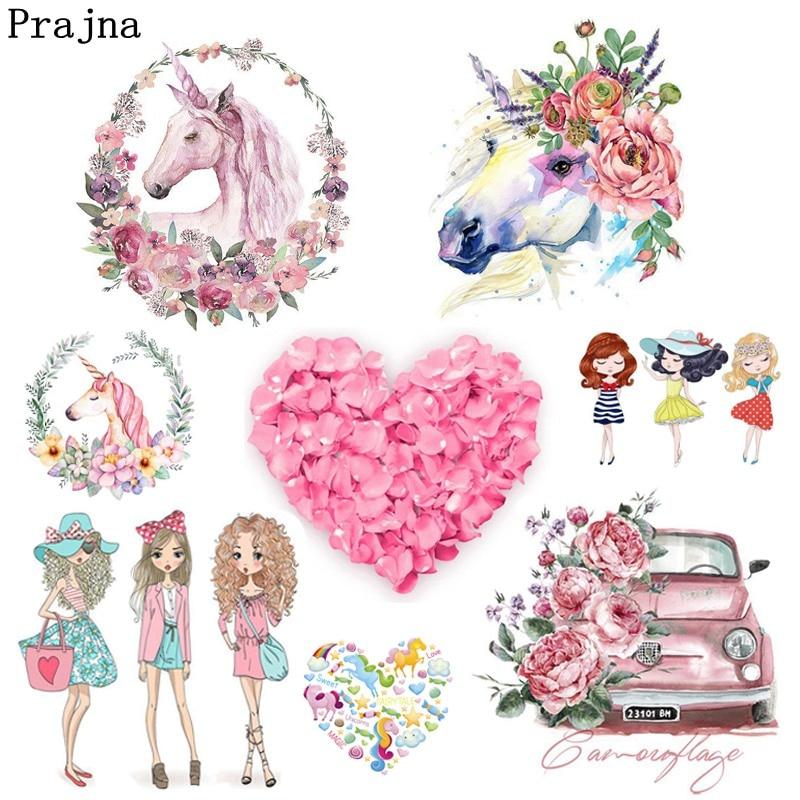 Prajna Unicorn Rose Car Fashion Girl Heat Transfers Pvc Patch Stickers On Clothes Washable Iron DIY Decoration