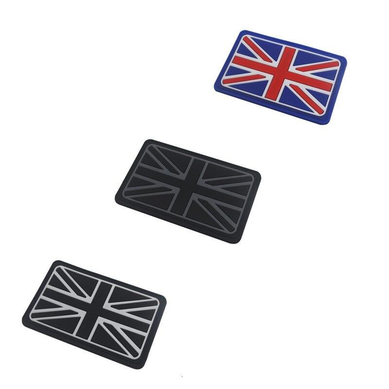 UNION JACK BLACK RUBBER PATCH BADGE VELCOR BACKING GB FLAG