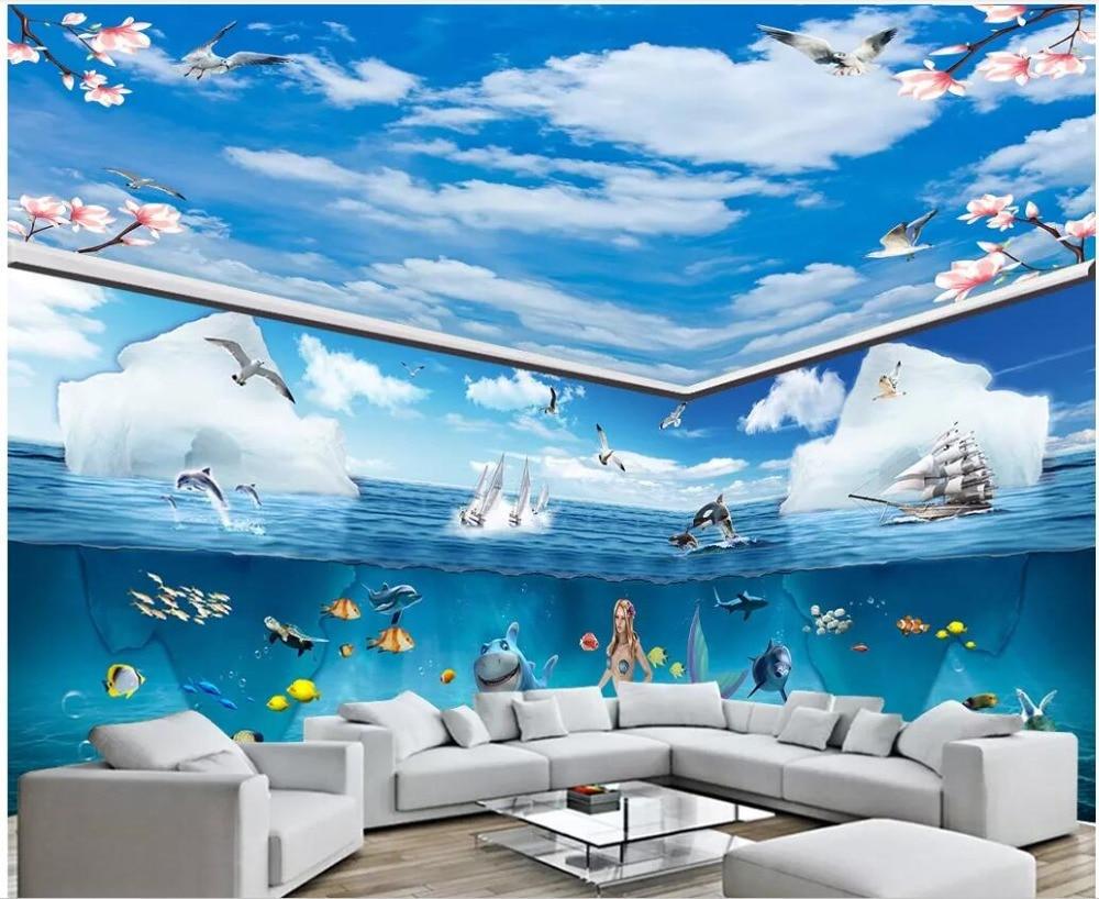 US $15 03 OFF Custom Mural 3D Foto Wallpaper Langit Biru Laut Lumba Lumba Mermaid Tema Ruang Dekorasi Rumah Ruang Tamu Wallpaper Dinding 3
