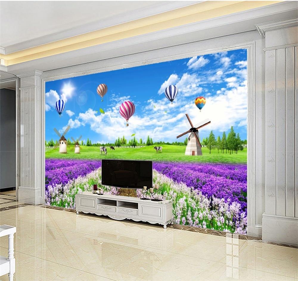 Купить с кэшбэком Custom Photo Wallpaper 3D Full of Colorful Flowers Grassland Scenery TV Background Wall Wallpaper Mural