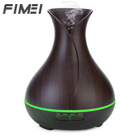 FIMEI 300ml Ultrasonic Air Humidifier Umidificador Wood Grain Aroma Essential Oil Diffuser 7 Color Led Llights