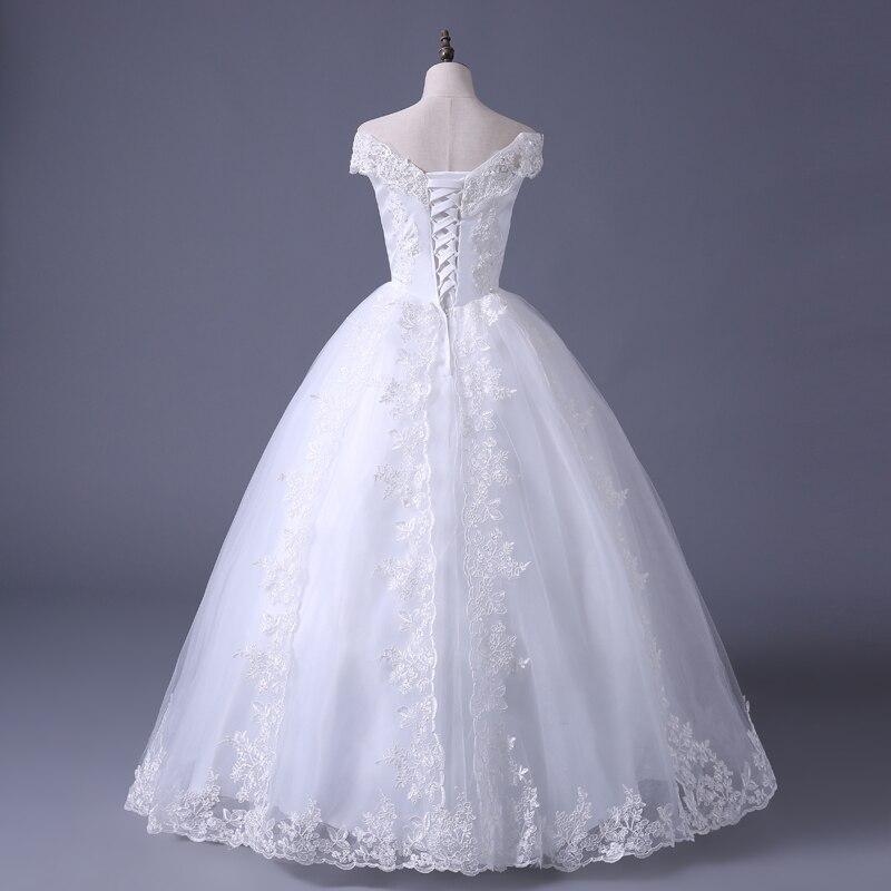 VENSANAC 2017 Free Shipping New A Line Lace Sweetheart Short Sleeve White Satin Bridal Wedding Dress Wedding Gown 30217 5