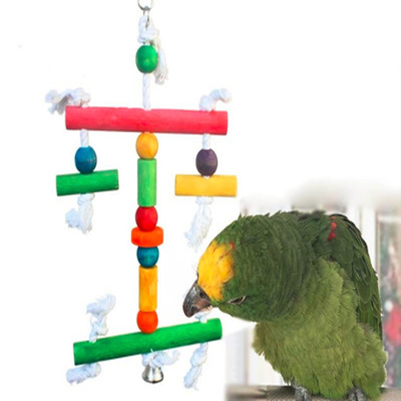 Pet Products Responsible 2019 1pc Pet Bird Gnaw Hanging Bite Toys Cotton Rope Rainbow Wooden Blocks Toy For Parrots To Gnaw Bird Chew Toy Commodities Are Available Without Restriction Bird Toys
